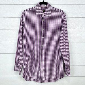 Peter Millar Purple Check Cotton Dress Shirt Med
